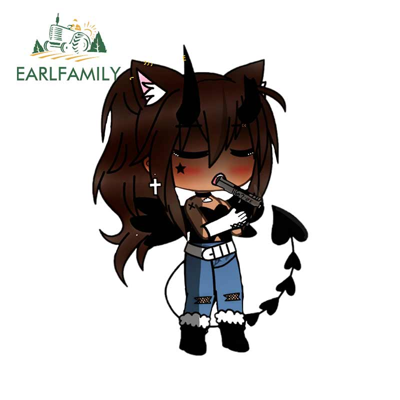 EARLFAMILY 13cm X 9cm For Done Gacha Life Wolf Girl Cute Camper Truck Decal Car Accessories Bumper Decoration 3D Stickers