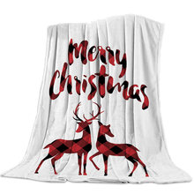Merry Christmas Red Black Lattice Deer Blanket Unisex Children Couch Bedspread Throws Cover Durable Warm Cozy Coverlet Blankets(China)