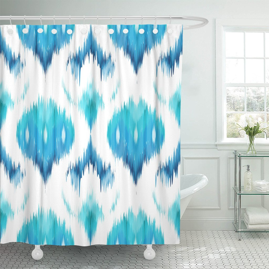 Blue Abstract Ethnic Ikat Pattern Traditional on The in Indonesia Asian Countries Artistic Shower Curtain Waterproof Polyester F image