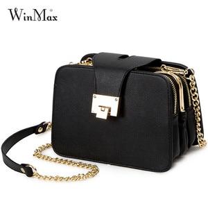 Image 1 - Women Spring Fashion Chain Shoulder Bags Brand Flap Designer 3 Layer Handbags Clutch Ladies Metal Buckle Crossbody Messenger Bag