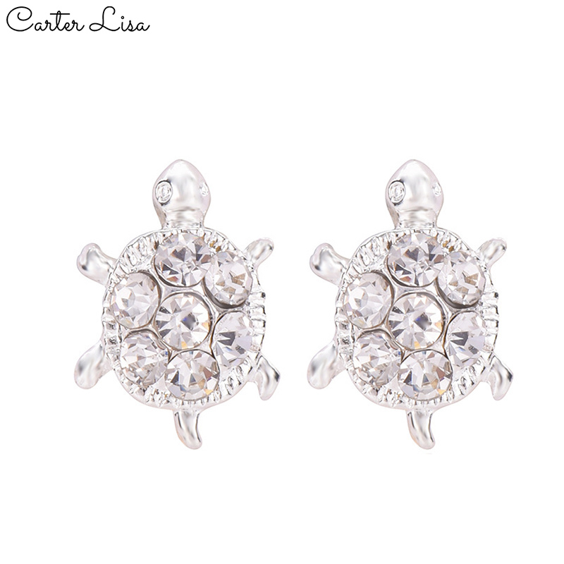 CARTER LISA Crystal Turtle Stud Earring Small Cute European Fashion Handmade Jewelry Earring Silver For Lady Girl Gift Brincos