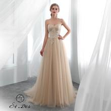 S.T.DES Evening Dress 2020 New Arrival A-line Sweatheart Champagne Sleeveless Designer Floor Length Party Dinner