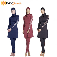 Hot Sale S 6XL Women Plus Size Floral Muslim Swimwear Hijab Muslimah Islamic Swimsuit Swim Surf Wear Sport Burkinis