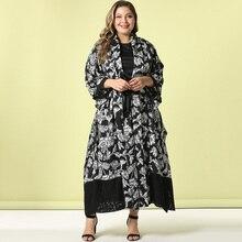 2020 Abaya Lange Sommer Frauen Kleider Große Plus Größe Art Und Weise Elegante Stitching Spitze Manschette und Saum Schärpen Maxi Afrikanischen Kleid