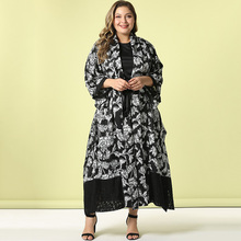 2020 Abaya Long Summer Womens Dresses Large Plus Size Fashion Elegant Stitching Lace Cuff and Hem Sashes Maxi African Dress