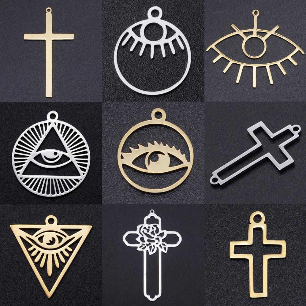 5pcs/lot Religious Cross DIY Charms Wholesale 100% Stainless Steel Evil Eye Connectors Charm Horus Hamsa Hand Jewelry Pendant