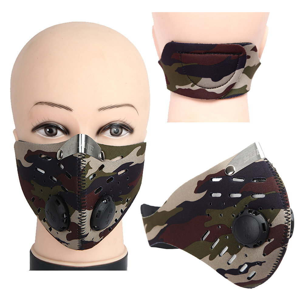 Sports Camo Mask Wind-proof Dust-proof Mask Activated Carbon Valve PM2.5 Running Motorcycle Cycling Mask Anti-pollution Mask