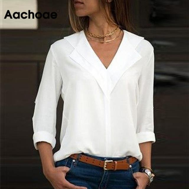 Aachoae White Blouse Long Sleeve Blouse Double V-neck Women Tops and Blouses Solid Office Shirt Lady Blouse Shirt Blusas Camisa