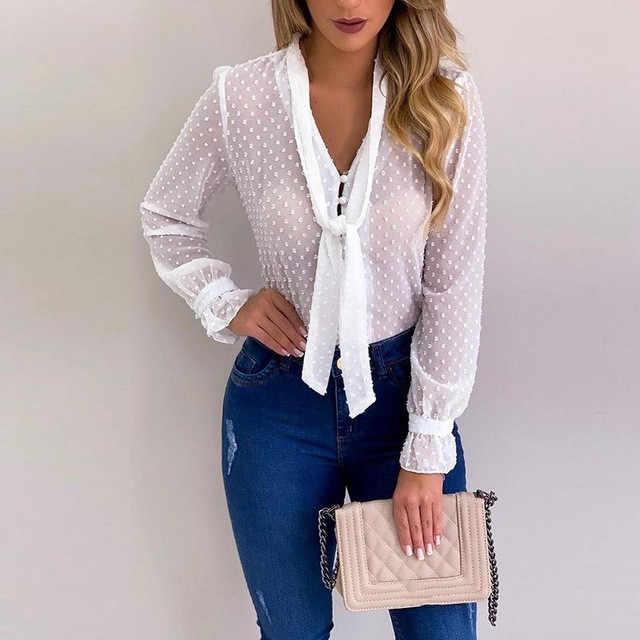 Cysincos, шифоновые блузки для женщин, осень 2019, модная розовая рубашка с длинным рукавом и v-образным вырезом, офисная блуза, облегающие повседневные топы для женщин размера плюс