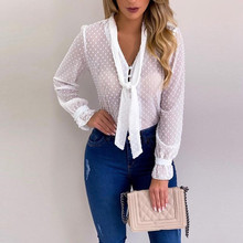 Chiffon Long Sleeve V-neck Pink Shirt Bow Tops Blouse SE