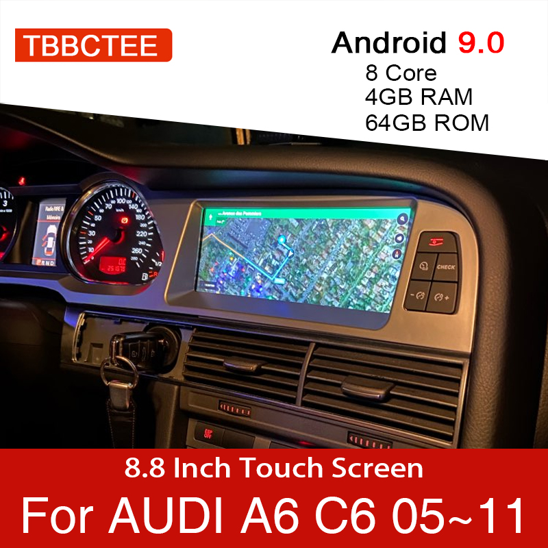 Android 9.0 4+64GB Car Multimedia Player For Audi A6 C6 4f 2005~2011 MMI 2G 3G Car GPS Navigation Navi Stereo Touch Monitor