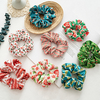 Xmas Geometric Scrunchies For Women Print Flannel Hair Ties Christmas Elastic Hair Bands Velvet Hair Accessories Ponytail Holder