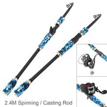 2.4m Carbon Fiber Lure Fishing Rod Spinning Casting Rod 6 Section Telescopic Ultra Light Travel Fishing Pole Lure Tackle цена 2017
