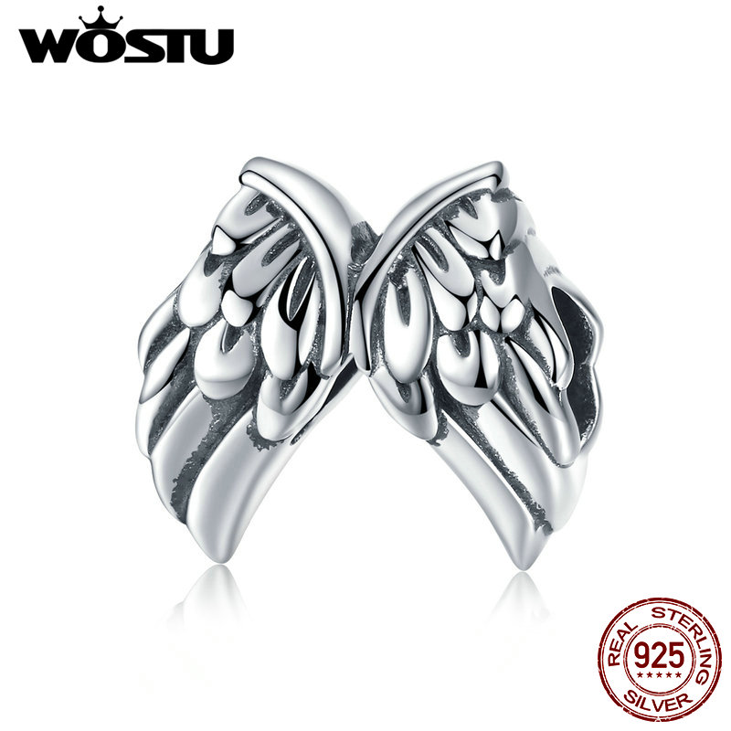 WOSTU 925 Sterling Soild Silver Angel Wings Feathers Charm Beads Fit Original wst Bracelet Authentic DIY Jewelry Gift DXC008(China)