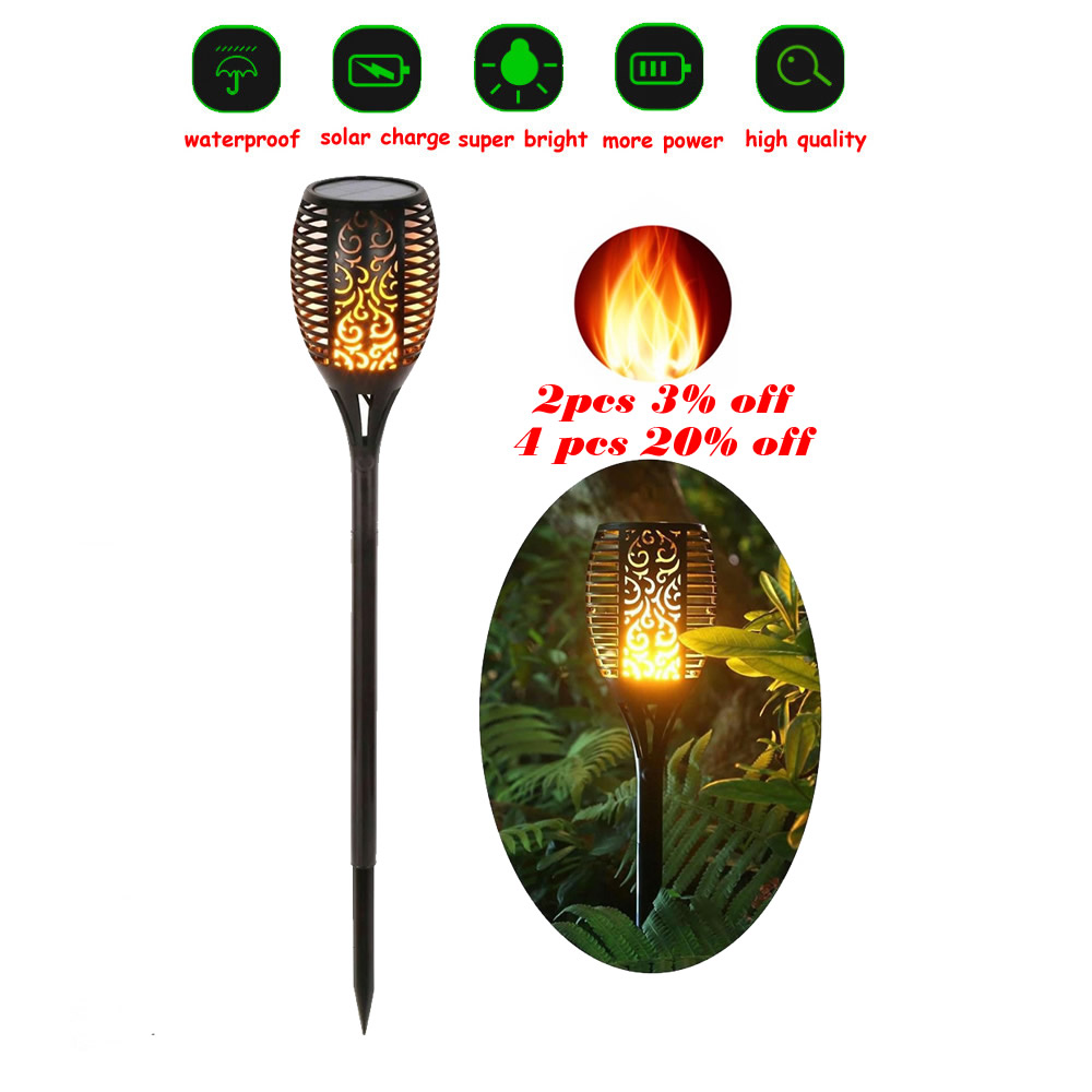 Solar 33LEDs Lawn Dancing Flame Torch Lights Radar Tiki LE Landscape Garden Camp Flame Lamp Flickering Bulb Dancing Lawn Lamps P