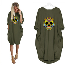 Loose Dresses Skull Print Femme Robe Long-Sleeve Vestidos Streetwear Party Women Vintage