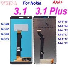 AAA + LCD Für Nokia 3,1 LCD TA-1049 TA-1057 Display Touch Screen Digitizer Montage Für Nokia 3,1 plus LCD TA-1118 TA-1104