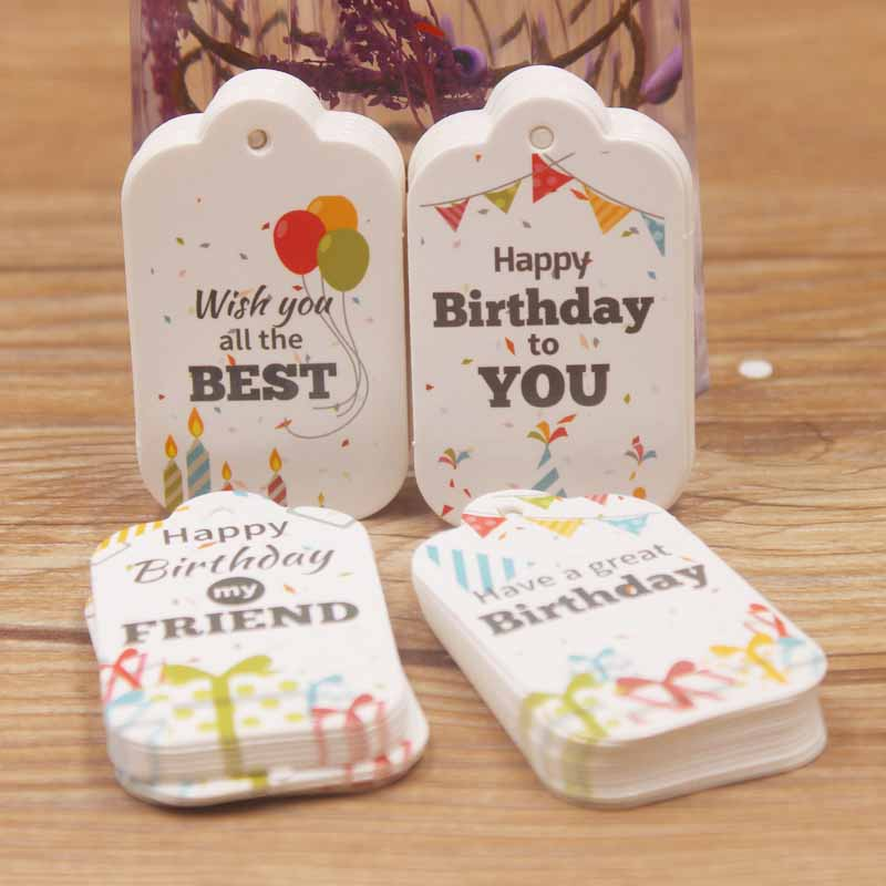 5*3cm DIY new wish you all the best gifts hang tag white color scallop birthday gifts hang tag wedding/candy favors tag 200pcs image