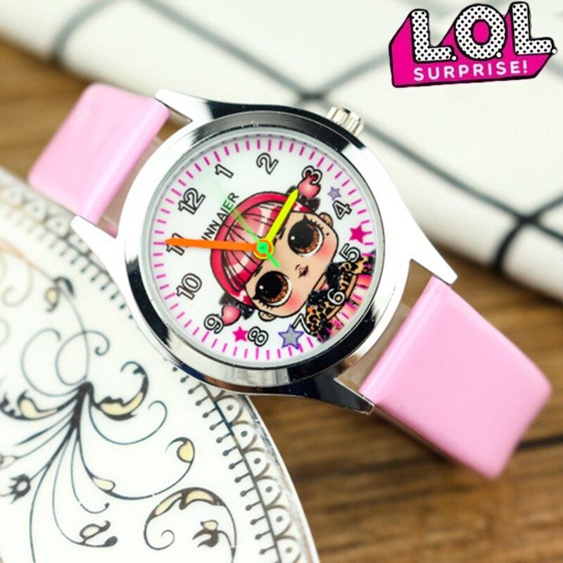 LOL surprise – montre originale pour enfants, jolie montre à Quartz avec bracelet en cuir, design de dessin animé, pour filles |