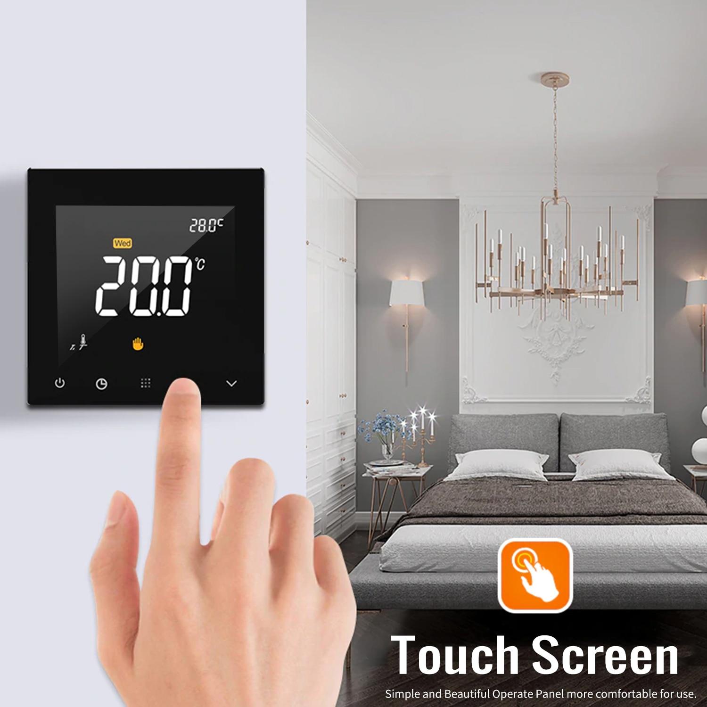 WIFI Thermostat intelligent Programmable contrôleur de température de chauffage par le sol de l'eau écran tactile couleur avec télécommande App - 4