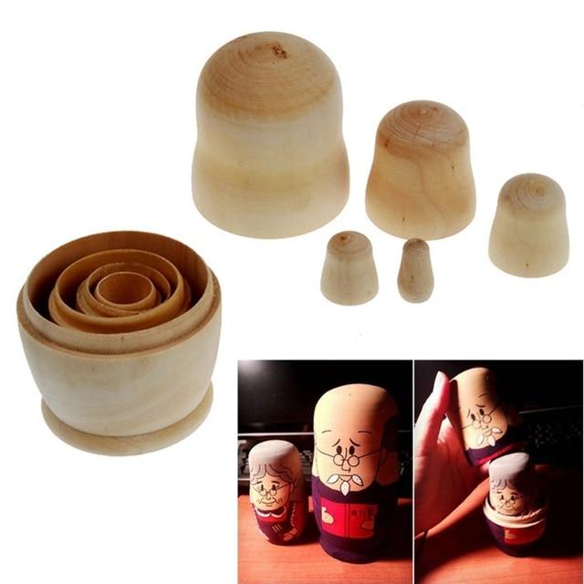 5x Unpainted DIY Blank Wooden Embryos Russian Nesting Dolls Matryoshka Toy Gift BX0D 2