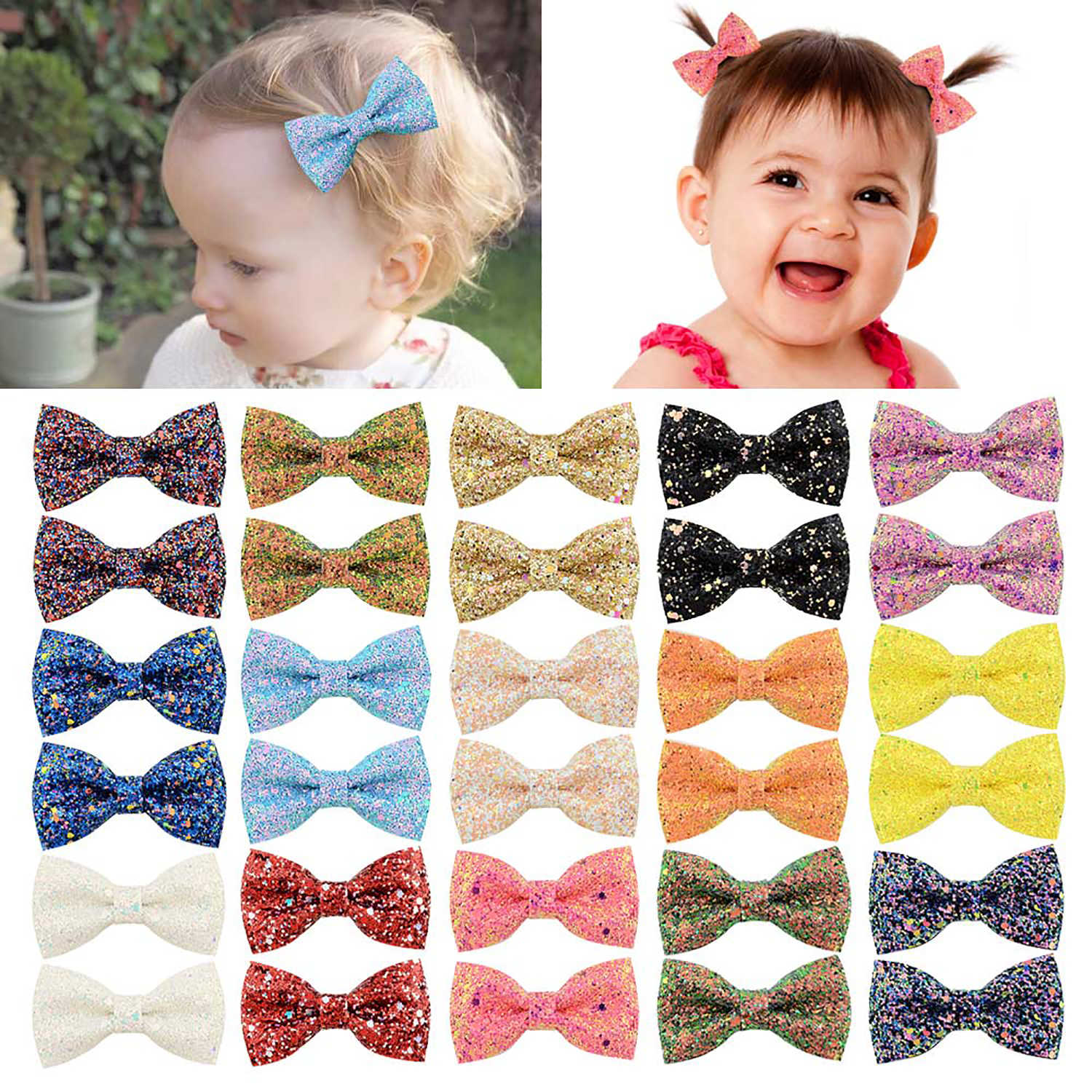 1Piece 3 Inch Glitter Hair Bows Boutique Hair Clips Multi Color Glitter Sequins Hair Bows For Baby Girls Teens Toddlers 909