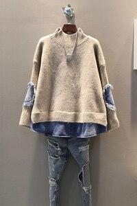 Image 5 - EWQ pull de haute qualité à col roulé pour femmes, faux deux pièces à manches longues, tricot Denim tricoté Streetwear AH502, printemps automne 2020