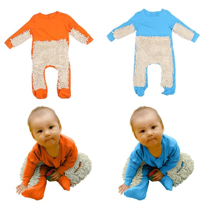 Hot sale Baby Mop   Romper   Outfit Unisex Boy Girl Polishes Floors Cleaning Mop Suit Autumn Winter Kids Crawls Toddler Jumpsuit