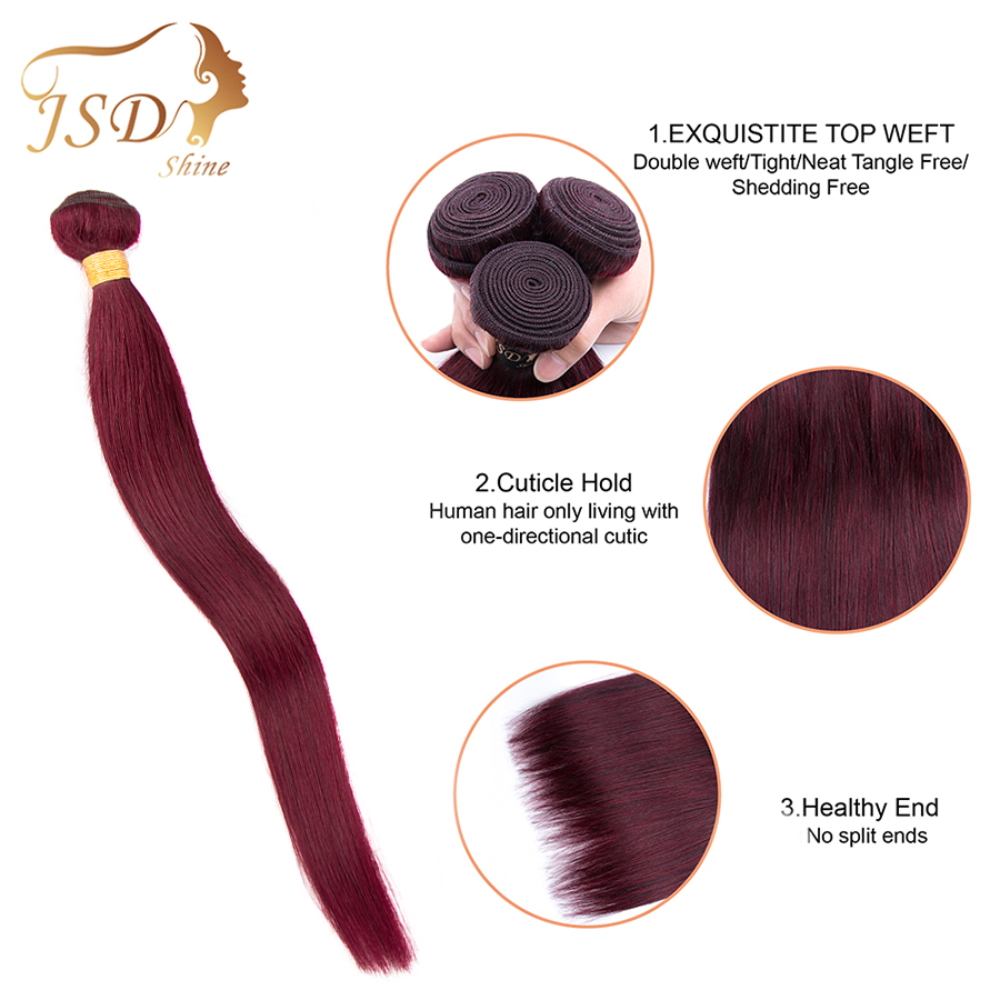 JSDshine Brazilian Straight Hair Bundles With Closure Red 99J Burgundy Human Hair Weave Bundles With Closure Non-Remy