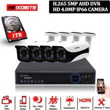 Камера видеонаблюдения HKIXDISTE HD HDMI DVR 4 МП HD внутренняя и наружная стандартная, 4 канальная камера видеонаблюдения DVR Kit 4 МП AHD