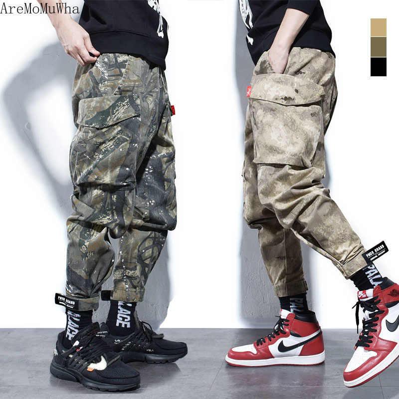 AreMoMuWha American Street con la misma boca pantalones con Aj Pantalones Casual pantalones sueltos camuflaje overoles hombres camuflaje QX1420