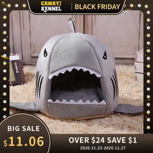 Image 1 - Caseta de CAWAYI cama de Casa de perro para mascotas, diseño de tiburón, para perros y gatos, productos de animales pequeños, cama de perro hondenmand, panier chien legowisko dla psa