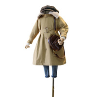 Mihkalev Big girl trench coat for kids girls long length wind coat 3 12year children thicken warm overcoat girls clothing