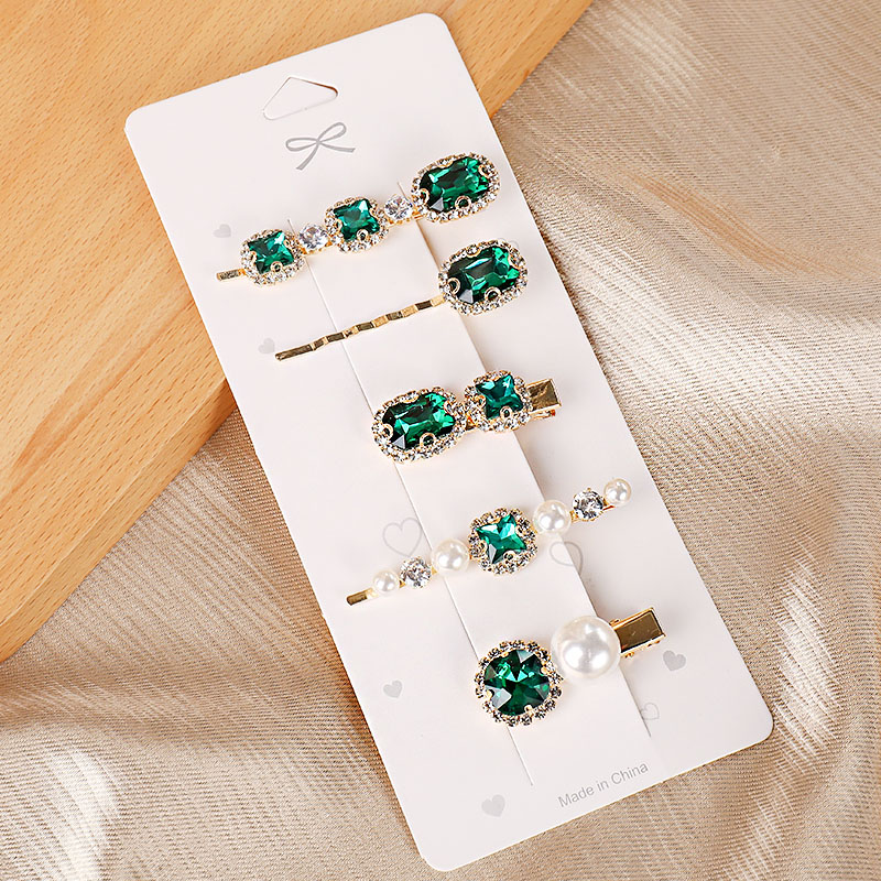 2020 New Luxury Shining Green Crystal Pearl Barrettes Women Sweet Hair Clip Headband Beautiful Hairpins Fashion Hair Accessories