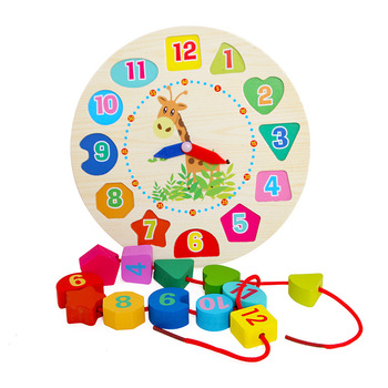 Alarm clock cognition number shape threading wooden patchwork multi-function digital  toys