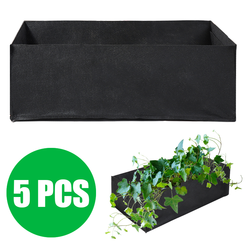 1Set Non-toxin Durable 60 X 30 X 21cm Fabric Reusable Garden Plant Bags For Vegetable Tomato Potato Carrot Grow Bags 5 Pcs