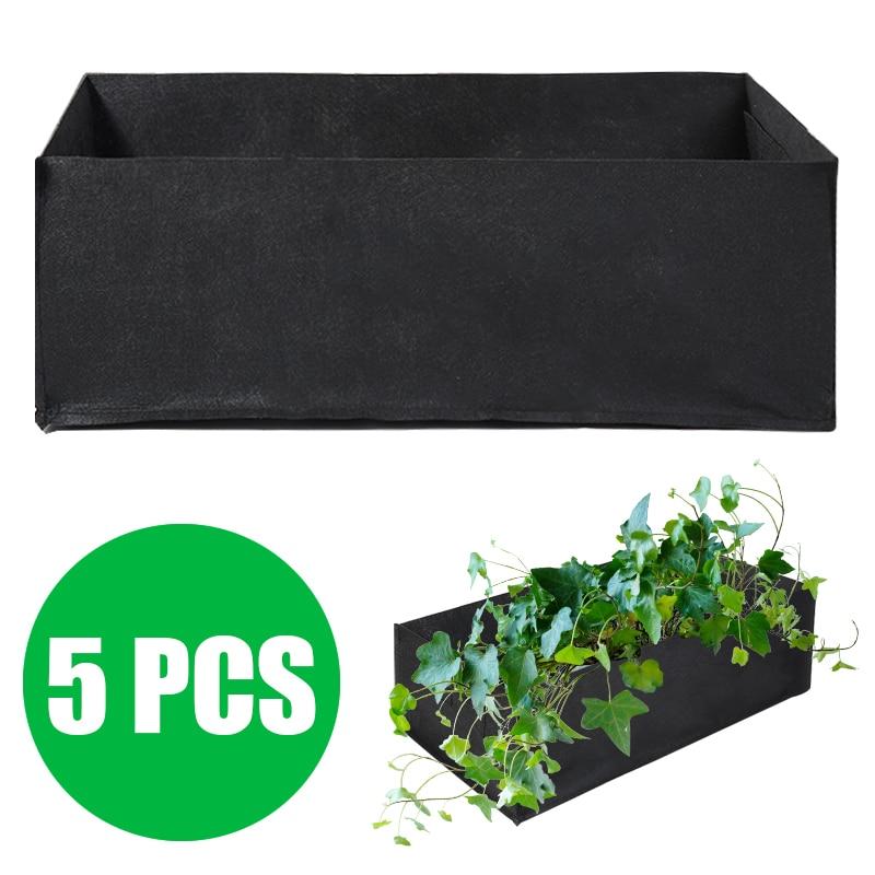 1Set Non-toxin Durable 60 X 30 X 21cm Fabric Reusable Garden Plant Bags For Vegetable Tomato Potato Carrot Grow Bags 5 Pcs