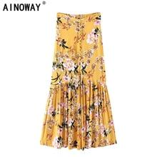 Das mulheres da forma do vintage print floral amarelo praia Hippie Boêmio saia Maxi Alta Cintura Elástica Uma Linha Saia Boho Femme