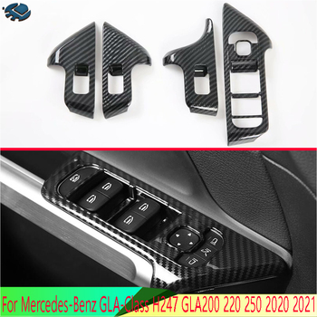 For Mercedes-Benz GLA-Class H247 GLA200 220 250 2020 2021 Carbon fiber style Door Window Armrest Cover Switch Panel Trim image