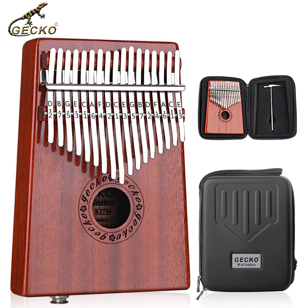 C-tone GECKO Kalimba 17-key Thumb piano with built-in EVA high-performance protection box, hammer and instructions. With pickup