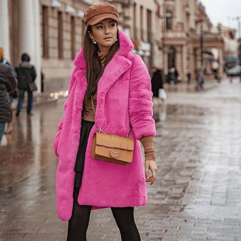 New Fashion Faux Fur Midi Long Coat Women 2019 Winter Warm Solid Casual Long Sleeve Fur Coats Quality Luxury Overcoat