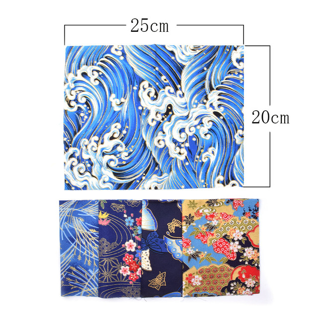 5pcs 20x25cm Japanese Printed Cotton Fabric Bundle For Sewing Dolls &Bags, Quilting material DIY Patchwork Needlework 6