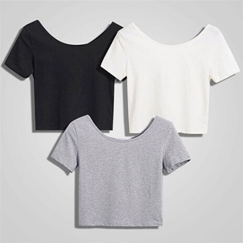 Summer Slim Sexy o-neck Crop Tops Elegant Plain Basic Tshirts Women Short Sleeves Tees Female Casual Tight Tee Shirt Female