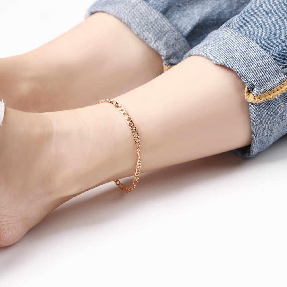 1 PC Simple Link Chain ข้อเท้าสร้อยข้อมือขาสำหรับผู้หญิง Anklets แฟชั่นเท้าเครื่องประดับคุณภาพสูง