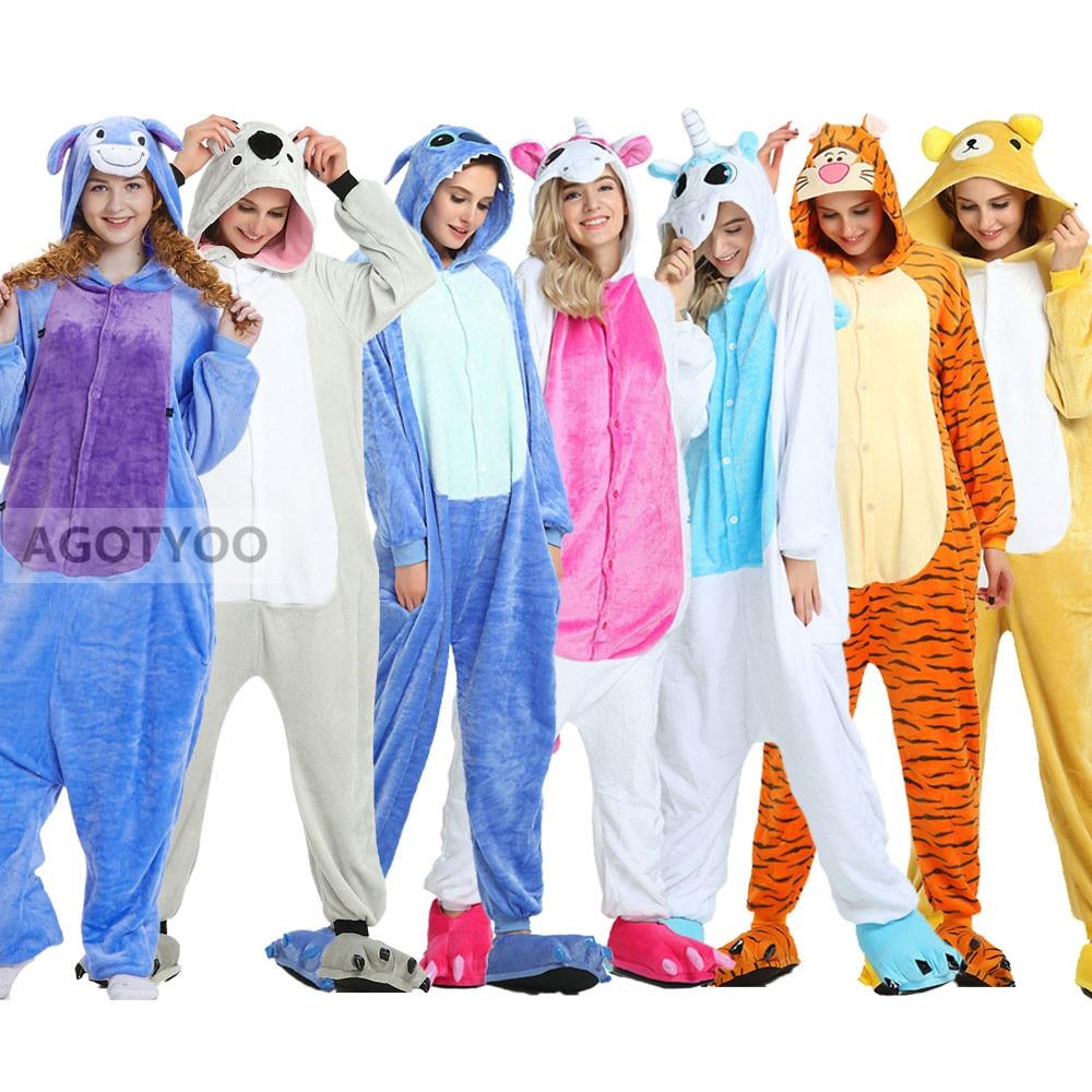 Adults Pajamas Women Flannel Sleepwear Kigurumi Unicorn Stitch Tiger Totoro Cartoon Animal Pajama Sets Pijamas Hooded Pyjamas