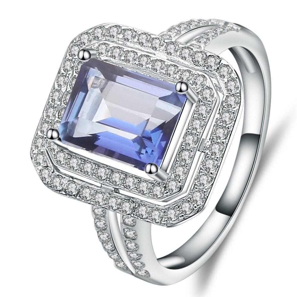 Gem's Ballet 925 Sterling Silver Emerald Cut 2.05Ct Natural Iolite Blue Mystic Quartz Gemstone Ring For Women Fine Jewelry