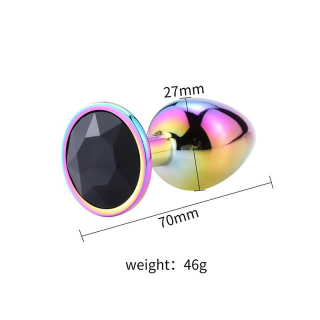 Size Rainbow anal plug black diamond