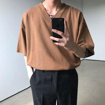 Summer Korean V-neck T Shirt Mens Fashion Solid Color Cotton Casual T-shirt Men Streetwear Loose Short-sleeved Tshirt Tops