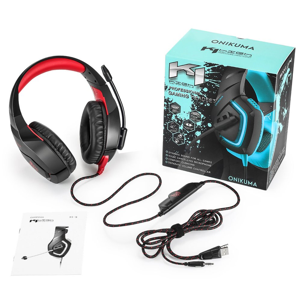 K1B Luminous Anti-noise Subwoofer Wired Gaming Headset