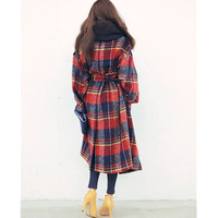 and New Winter Medium 2020 long termthic Women Oversized Casual Wool Plaid loose Maxi Long coat Female outerwear